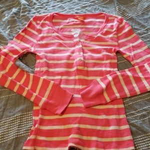 Joe fresh pink stripe Henley top NWT